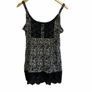 INC Black and White Floral Cami Blouse